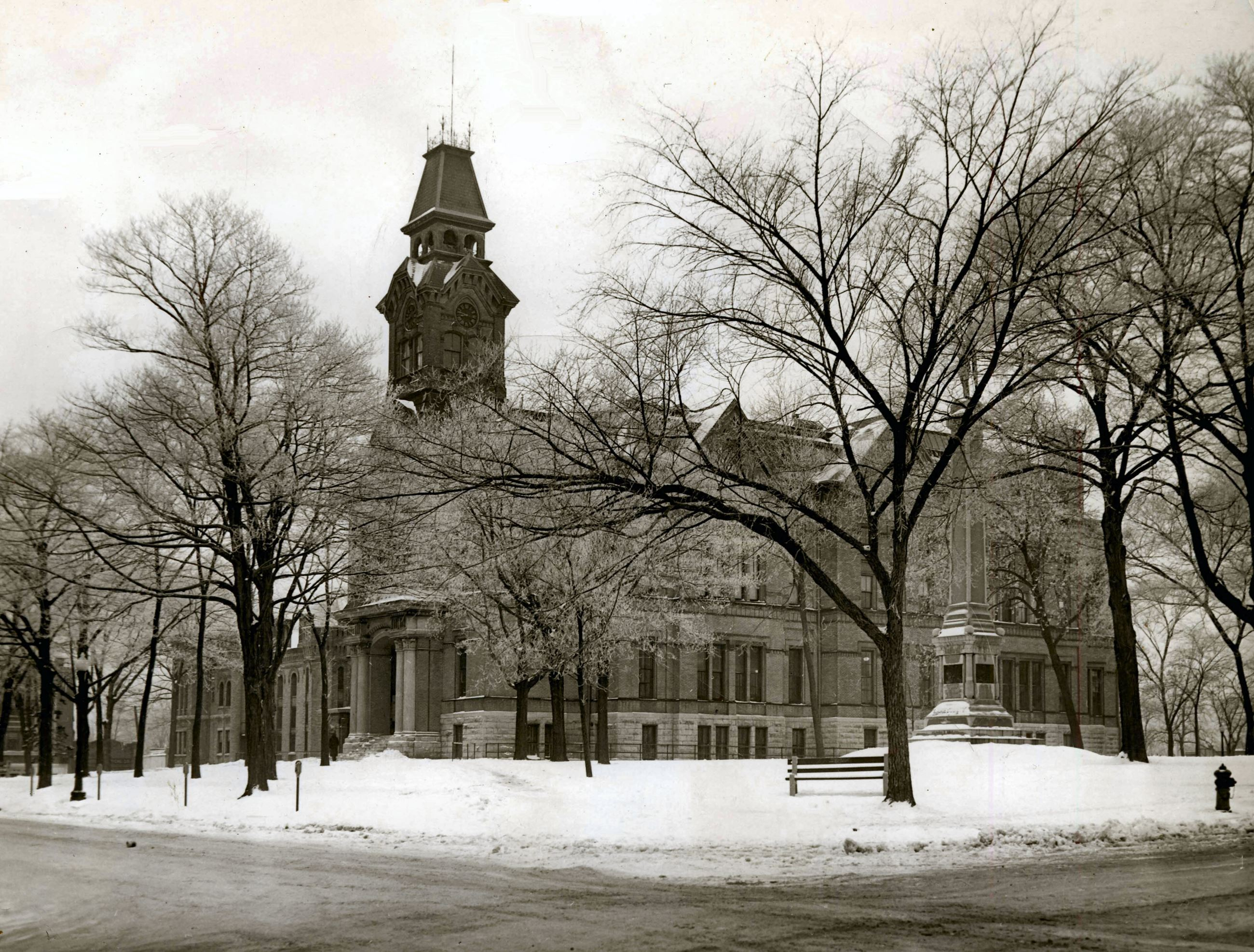 Second Courthouse in Waukegan, Illinois After a Snow